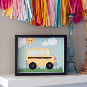 Stitched Paper School Bus
